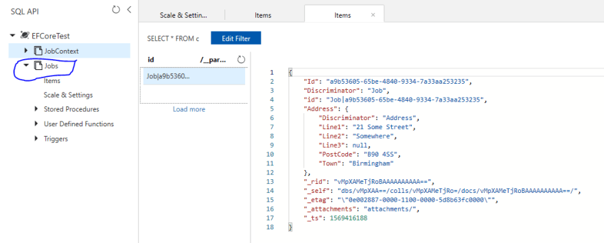 Azure Portal showing the Collection named Jobs