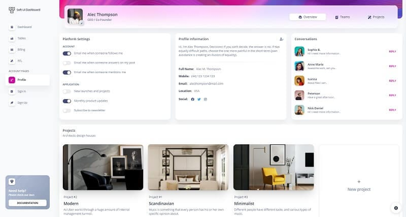 Soft UI Dashboard - recently updated open-source admin dashboard.