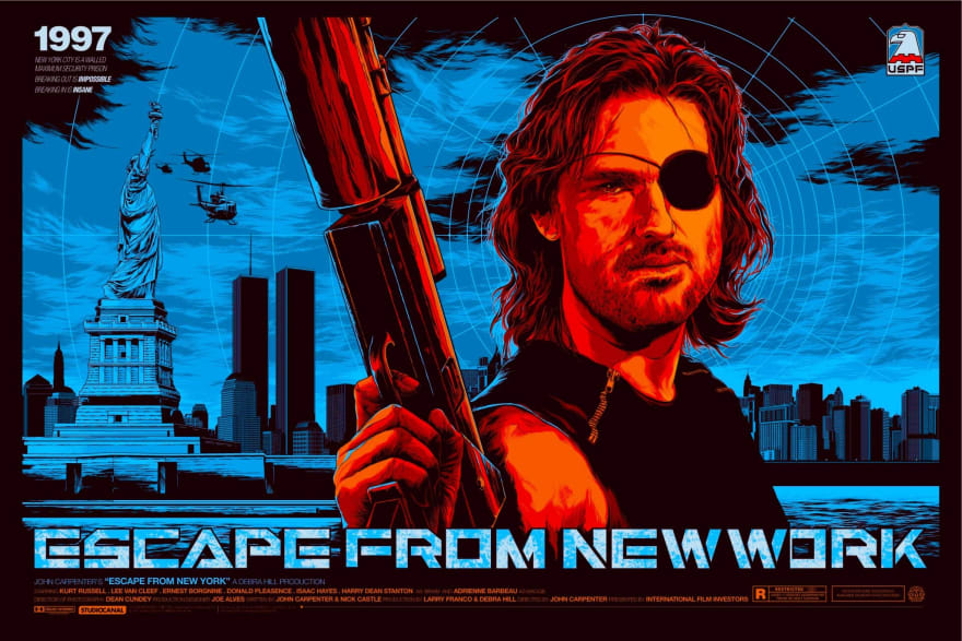 The box art for the 90s classic film: Escape From New York with title changed from New York to New Work