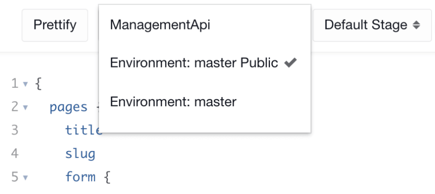 API Playground Environment dropdown