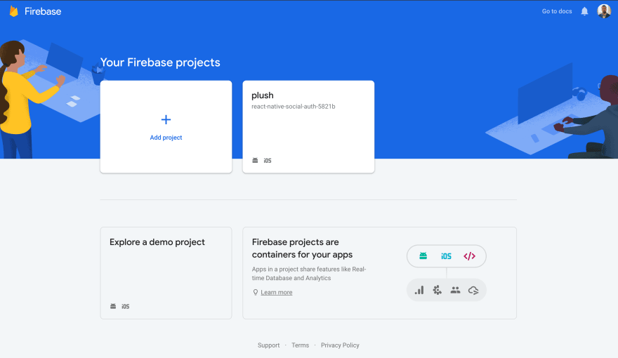Alt You can add projects from the Firebase console.