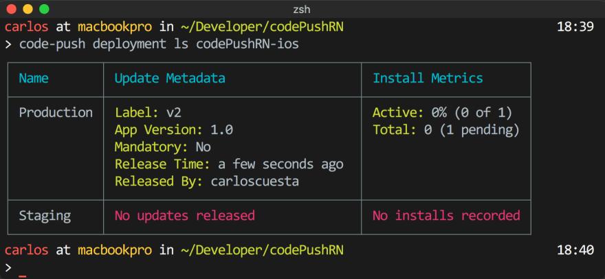 codePush deployment list