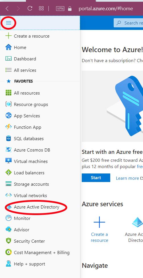 Azure Active Directory location inmenu