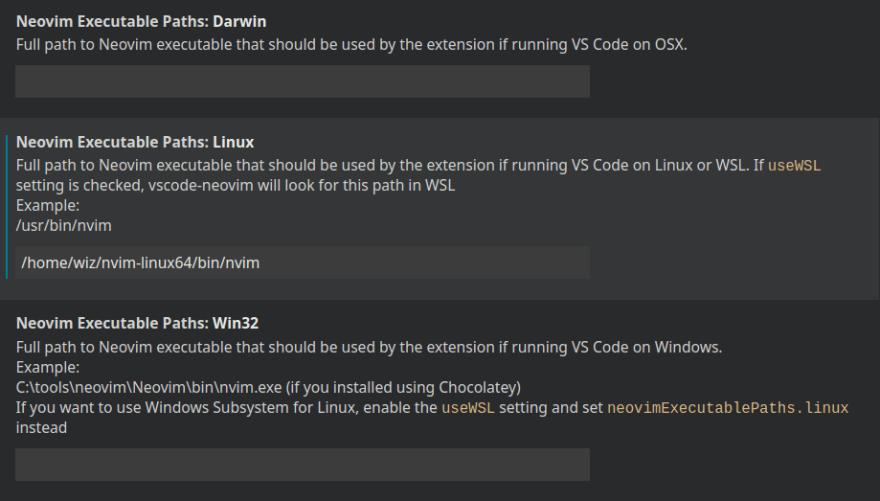 neovim extension settings