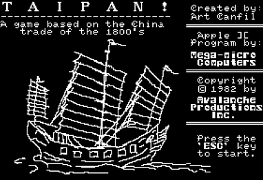 title screen for Taipain!