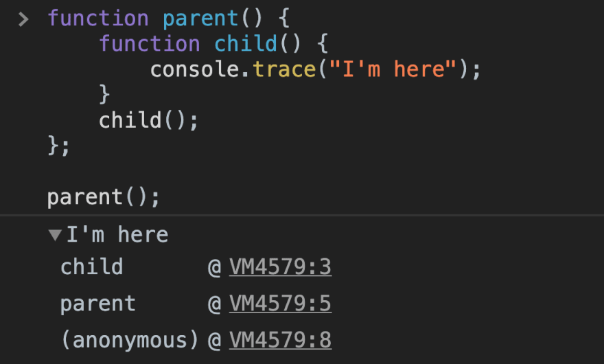 Showing the console.trace in action