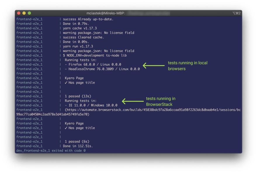 Tests running in Docker container