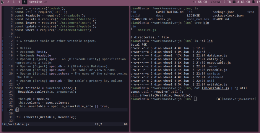 vim and terminal screenshots