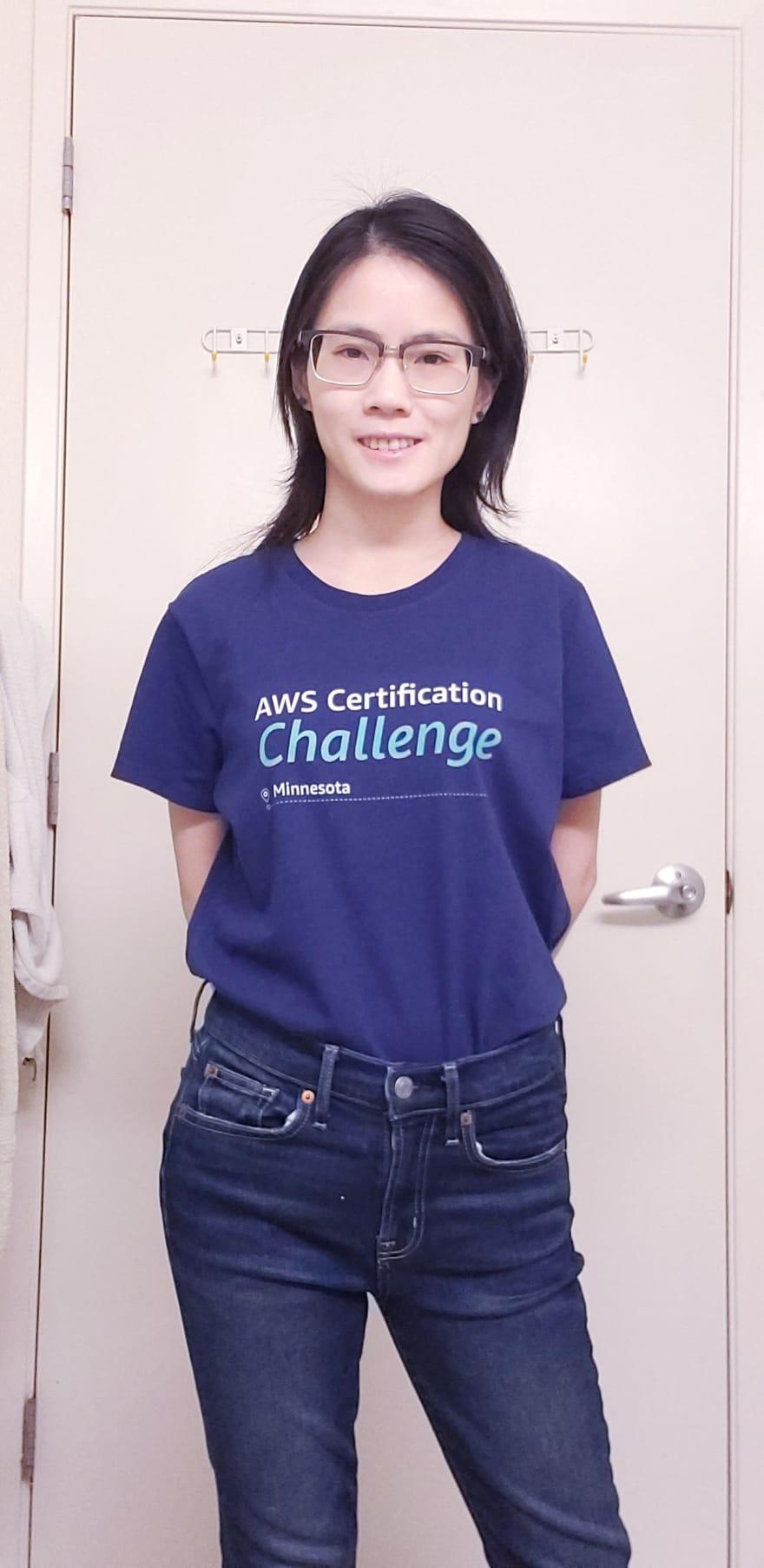 Amy wearing her AWS t-shirt