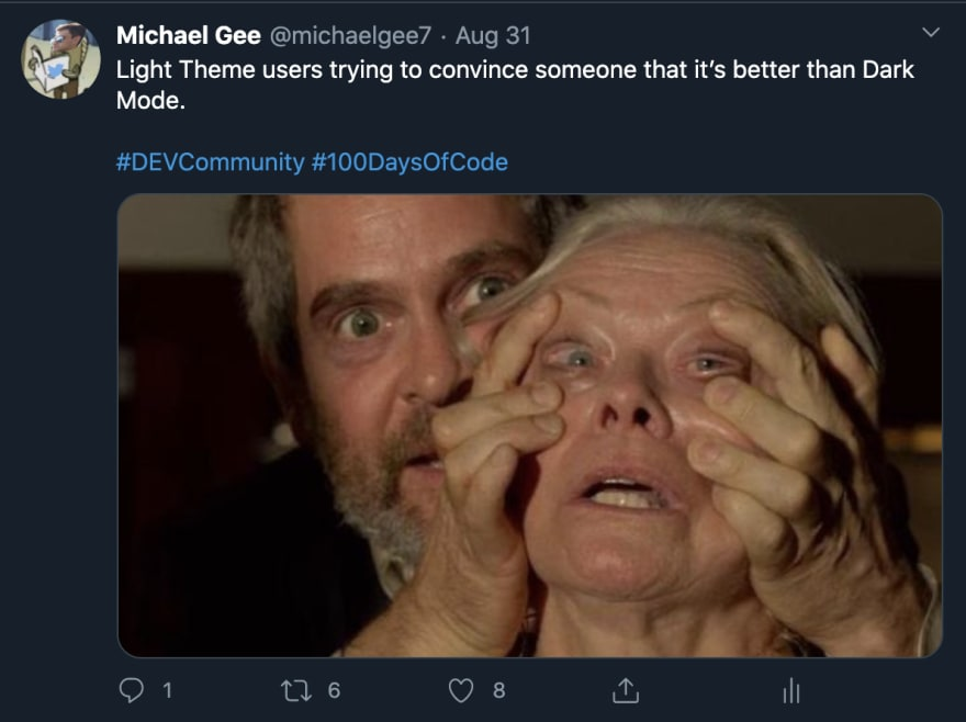 Michael Gee's Dark Mode Tweet