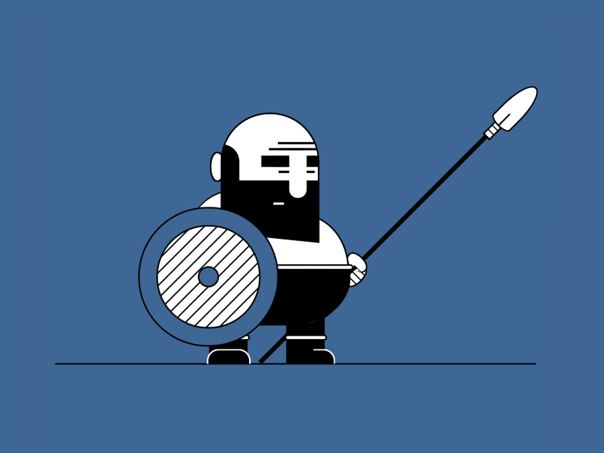 Cartoon showing an ancient bearded warrior holding a shield and a spear