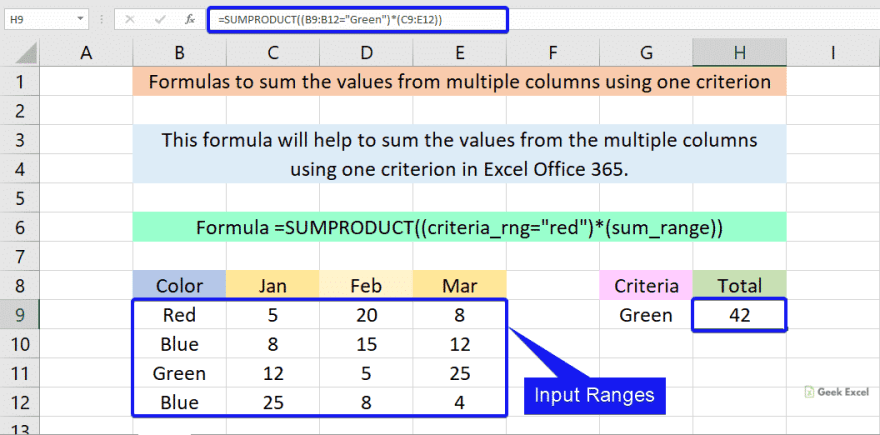 Formulas to sum the values from multiple columns using one criterion