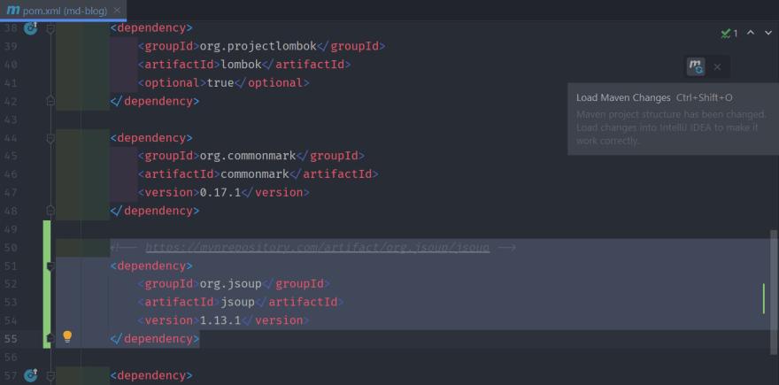 Loading Maven changes after adding jsoup dependency