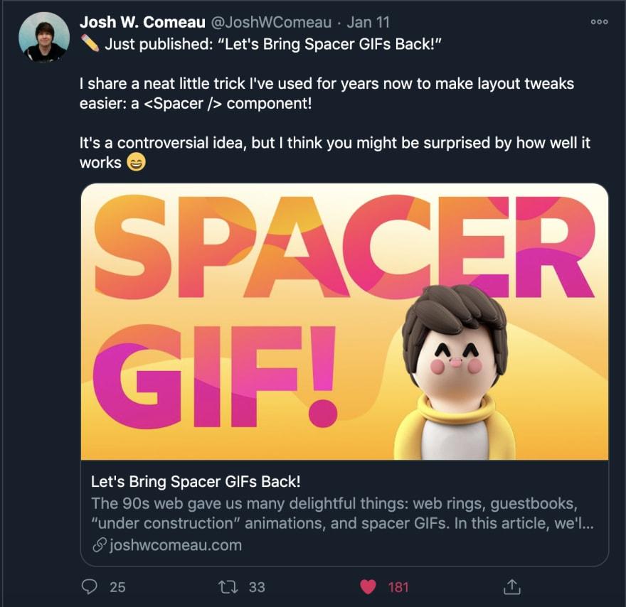A custom 3d style social image on Twitter
