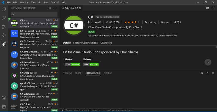 Install C# Extensions
