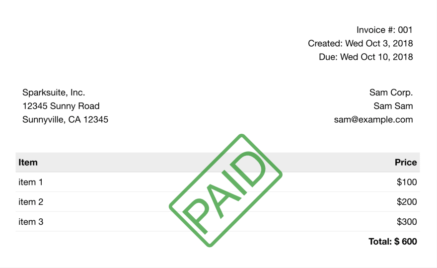 Invoice with stamp paid watermark