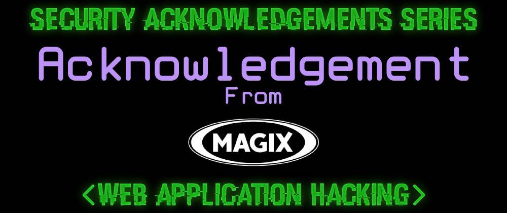 Cover image for Acknowledgement From MAGIX