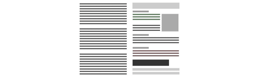 A representation of a visual hierarchy/hierarchical thinking applied to web design.