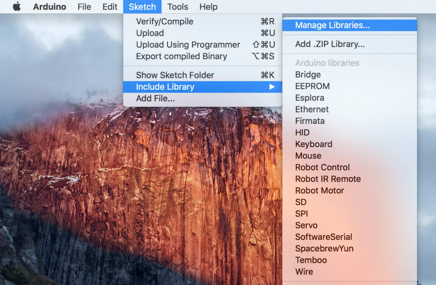 screenshot of manage libraries menu entry