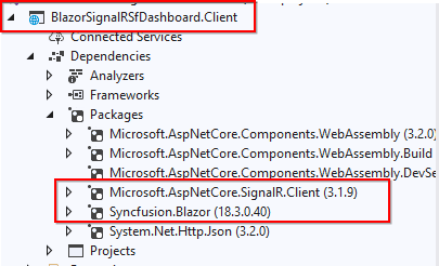 Install the NuGet packages Microsoft.AspNetCore.SignalR.Client and Syncfusion.Blazor