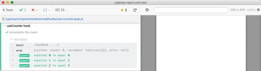 Testing React hook use mountHook function