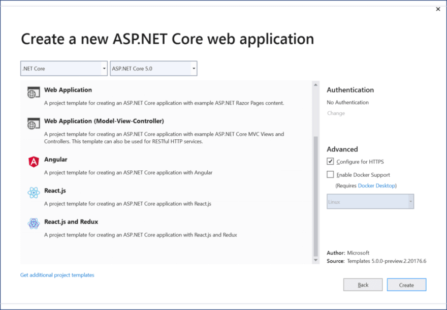 List of ASP .NET Core 5.0 projects (continued)