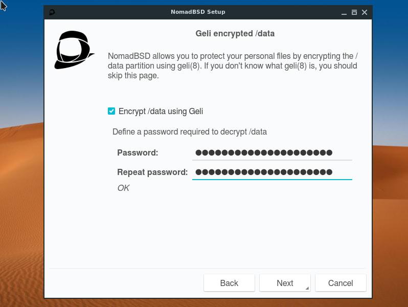 Geli disk encryption