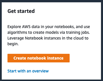 create notebook instance button