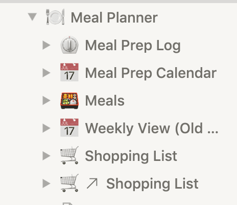 Screenshot of Notion sidebar with Meal Planner page and nested pages