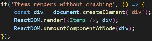 React render test in the Jest framework