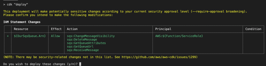 IAM changes approval after deploying the SQS event source