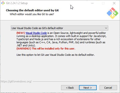 Choosing the default editor