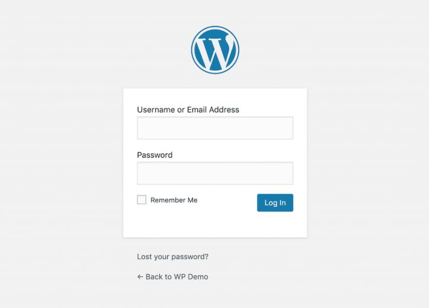 Wordpress login page.