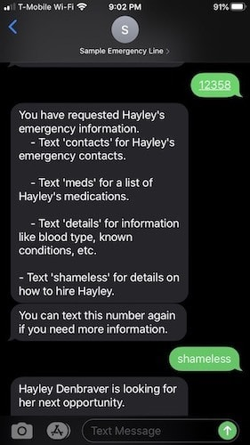 Screenshot of my phone utilizing the texting app. I sent the pin and got instructions back on how to navigate the information.