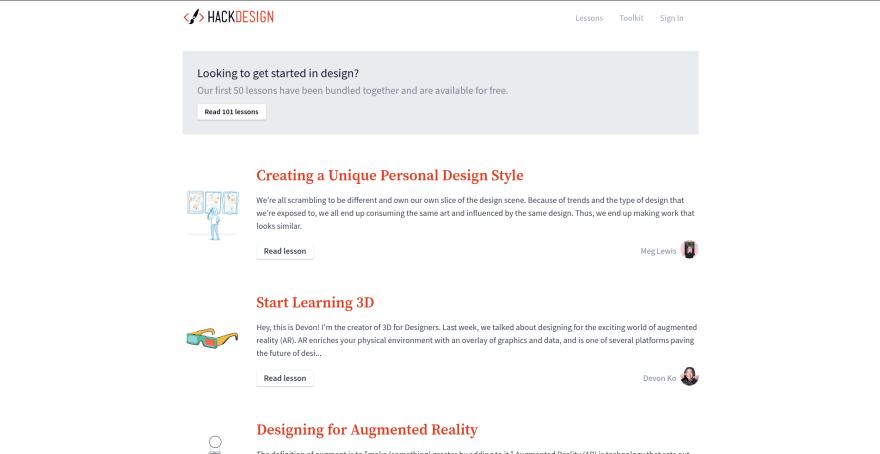 HackDesign landing page