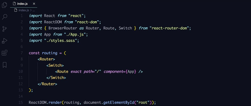 React code snippet with the Material - Ocean theme