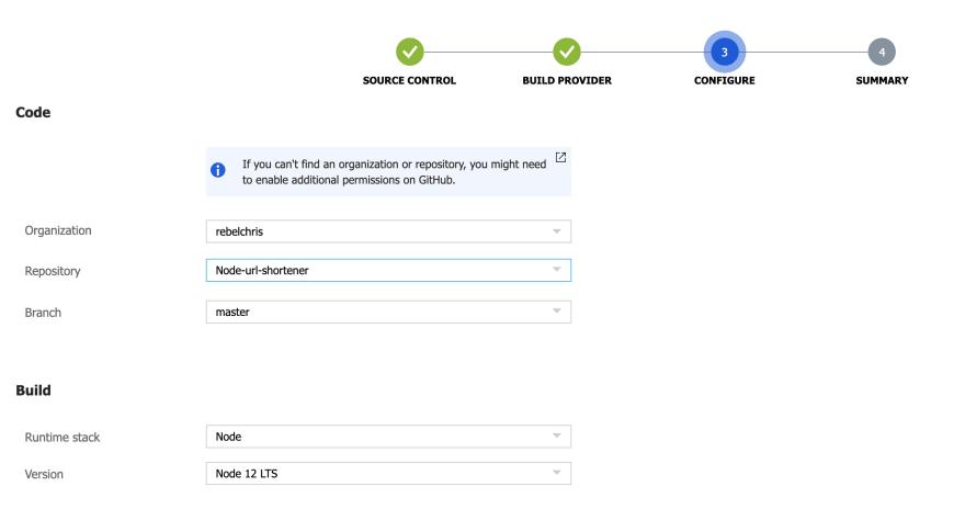 GitHub action configure