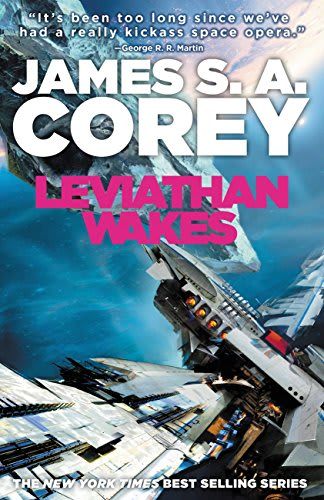 The book cover of Leviathan Wakes with two spaceships floating in space.