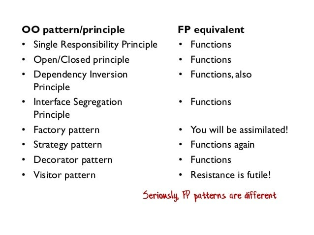 nine OO patterns listed on left with equivalent FP patterns on right all saying functions