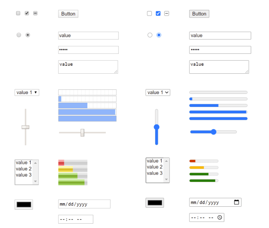 Chrome updated form elements