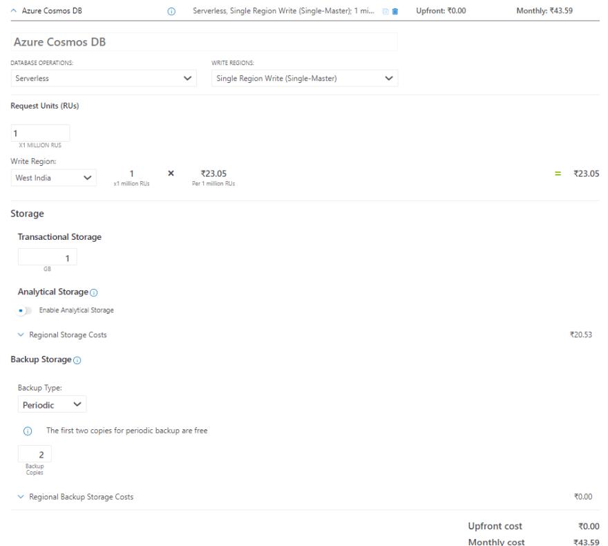 Azure CosmosDB Pricing