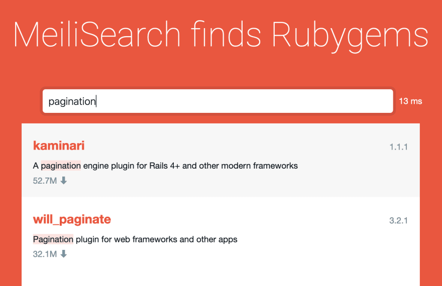 Rubygems alternative search bar
