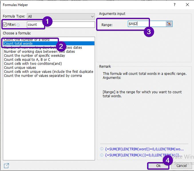 Formula Helper Dialog Box
