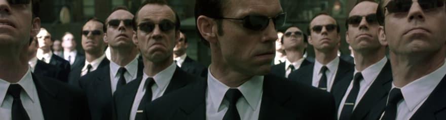 A photo of agent smith from the matrix