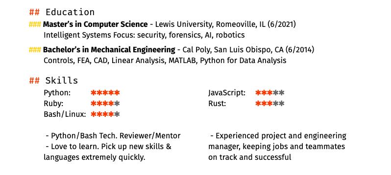 My resume, rev 3, part 2.