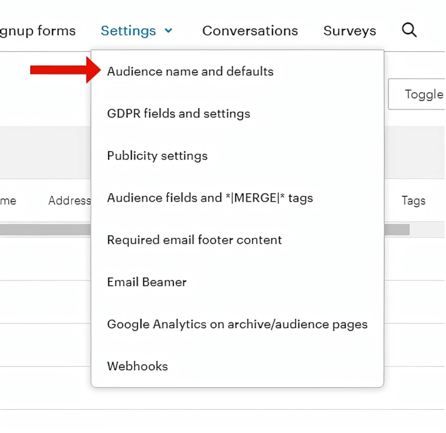 Select audience name and defaults