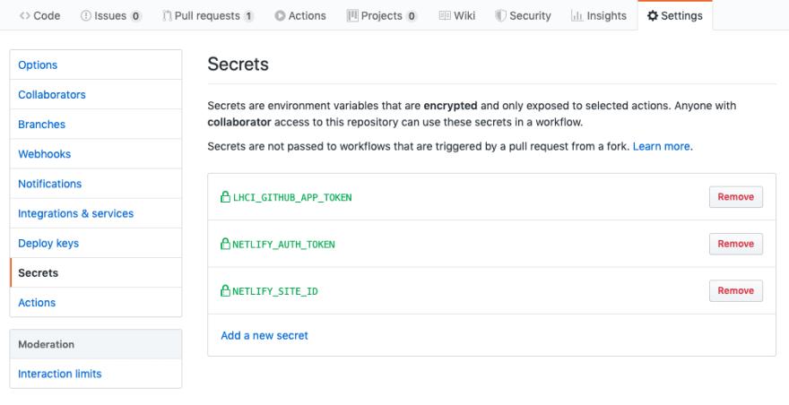 Screenshot of the Secrets Tab in the GitHub settings
