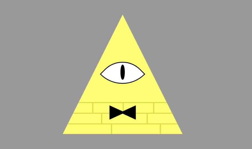 A yellow triangle with a bowtie and a big eye