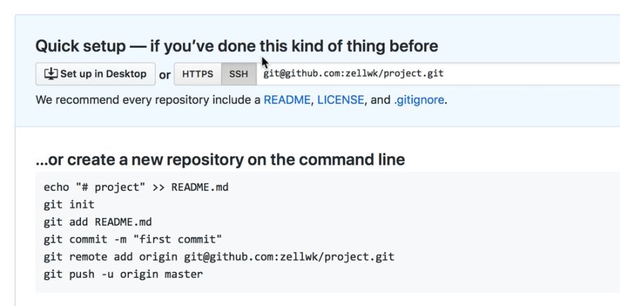 Instructions after creating repo
