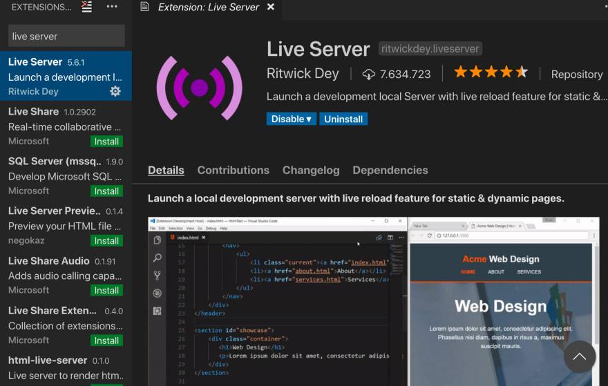 Live server VS code extension
